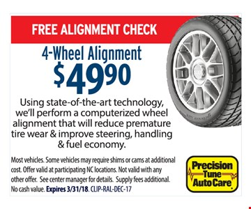 Free Alignment Check 4-wheel alignment $49.90