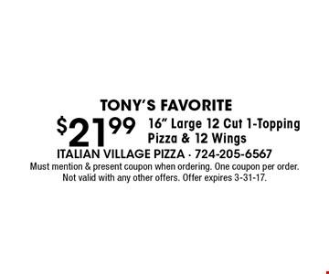 Tony's Favorite $21.99 16