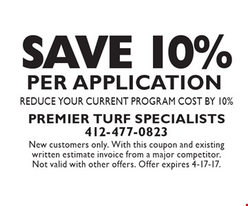 Save 10% Per Application. Reduce Your Current Program Cost By 10%. New customers only. With this coupon and existing written estimate invoice from a major competitor. Not valid with other offers. Offer expires 4-17-17.