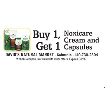 Buy 1, Get 1 Noxicare Cream and Capsules. With this coupon. Not valid with other offers. Expires 6/2/17.