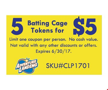 5 Batting Cage Tokens for $5