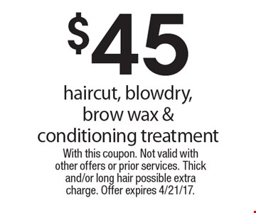 $45 haircut, blowdry, brow wax & conditioning treatment. With this coupon. Not valid with other offers or prior services. Thick and/or long hair possible extra charge. Offer expires 4/21/17.