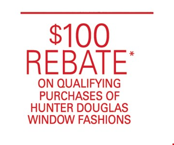 $100 rebate on qualifying purchases
