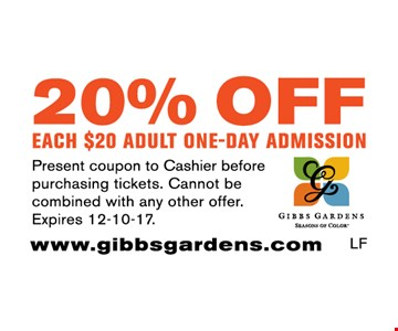 20% off each adult one-day admission