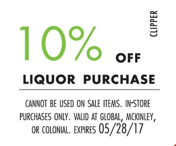 10% off liquor purchase