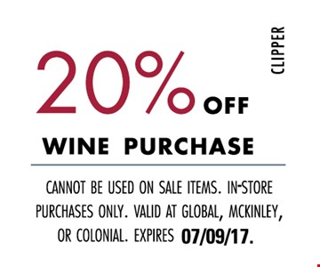 20% off wine purchase