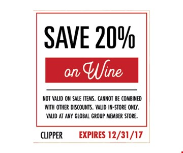 Save 20% on wine