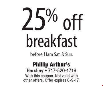 25% off breakfast before 11am Sat. & Sun. With this coupon. Not valid with other offers. Offer expires 6-9-17.