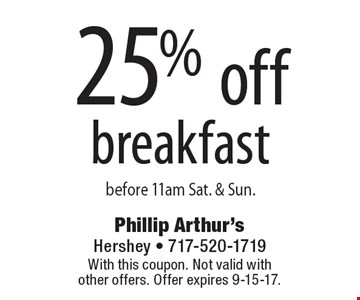 25% off breakfast before 11am Sat. & Sun. With this coupon. Not valid with other offers. Offer expires 9-15-17.