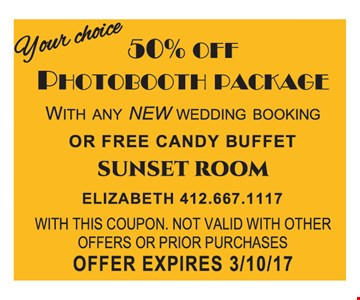 50% Off Photobooth Package OR Free Candy Buffet