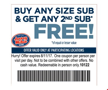 Buy Any Size Sub & Get 2nd Sub Free