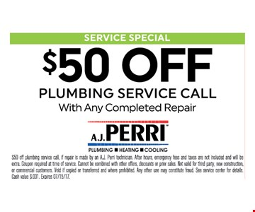 $50 off plumbing service call with any completed repair