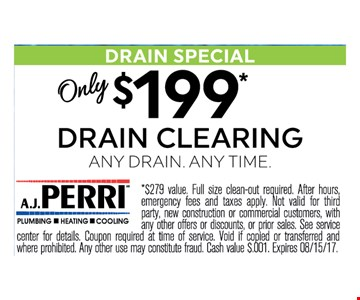$199 Drain Cleaning