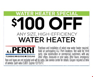 $100 OFF ANY SIZE, HIGH-EFFICIENCY WATER HEATER