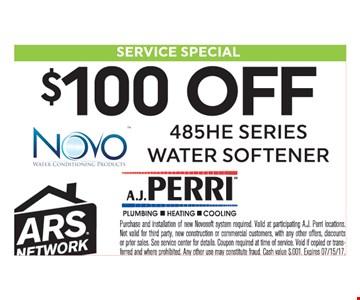 $100 Off 485HE Series Water Softner