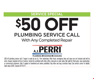 $50 Off Pluming Service Call
