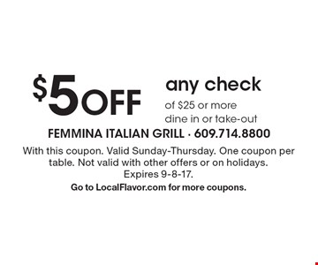 $5 off any check of $25 or more. Dine in or take-out. With this coupon. Valid Sunday-Thursday. One coupon per table. Not valid with other offers or on holidays. Expires 9-8-17.Go to LocalFlavor.com for more coupons.