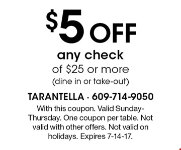$5 off any check of $25 or more (dine in or take-out). With this coupon. Valid Sunday-Thursday. One coupon per table. Not valid with other offers. Not valid on holidays. Expires 7-14-17.