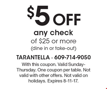 $5 Off any check of $25 or more (dine in or take-out). With this coupon. Valid Sunday-Thursday. One coupon per table. Not valid with other offers. Not valid on holidays. Expires 8-11-17.