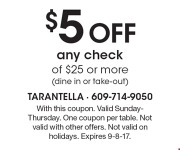 $5 Off any checkof $25 or more (dine in or take-out). With this coupon. Valid Sunday-Thursday. One coupon per table. Not valid with other offers. Not valid on holidays. Expires 9-8-17.