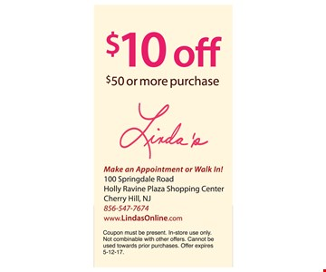 $10 Off $50 or more purchase