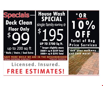 Deck clean floor only $99