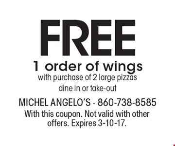 Free 1 order of wings with purchase of 2 large pizzas dine in or take-out. With this coupon. Not valid with other offers. Expires 3-10-17.