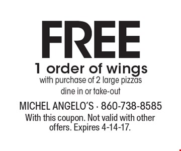 Free 1 order of wings with purchase of 2 large pizzas dine in or take-out. With this coupon. Not valid with other offers. Expires 4-14-17.