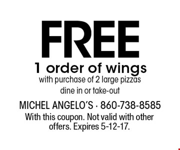 Free 1 order of wingswith purchase of 2 large pizzas dine in or take-out. With this coupon. Not valid with other offers. Expires 5-12-17.