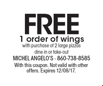 Free 1 order of wings with purchase of 2 large pizzas dine in or take-out. With this coupon. Not valid with other offers. Expires 12/08/17.