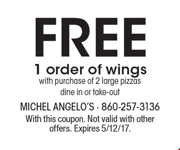 Free 1 order of wings with purchase of 2 large pizzas, dine in or take-out. With this coupon. Not valid with other offers. Expires 5/12/17.