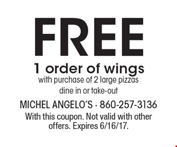 Free 1 order of wingswith purchase of 2 large pizzas dine in or take-out. With this coupon. Not valid with other offers. Expires 6/16/17.