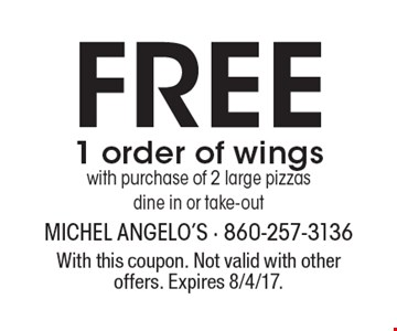 Free 1 order of wings with purchase of 2 large pizzas dine in or take-out. With this coupon. Not valid with other offers. Expires 8/4/17.