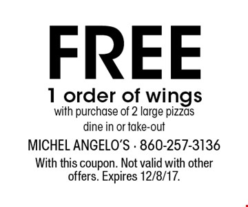 Free 1 order of wings with purchase of 2 large pizzas. Dine in or take-out. With this coupon. Not valid with other offers. Expires 12/8/17.