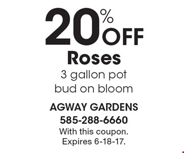 20% Off Roses 3 gallon pot bud on bloom. With this coupon. Expires 6-18-17.