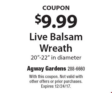 COUPON $9.99 Live Balsam Wreath 20