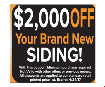 $2000 off your brand new siding