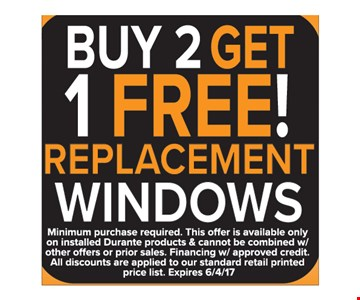 Buy 2 get 1 free replacement winodws
