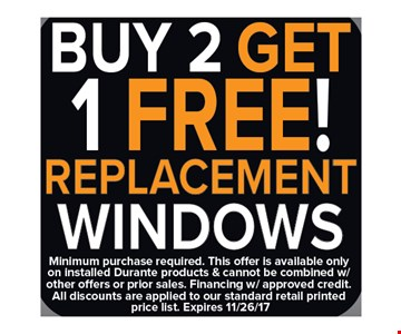 Buy 2 Get 1 Free Replacement Windows