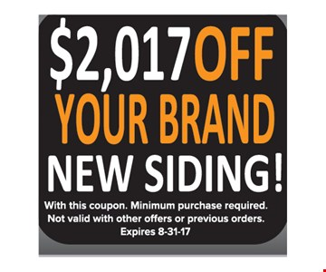 $2017 off your brand new siding
