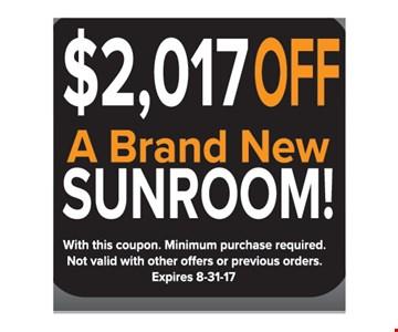 $2017 off a brand new sunroom
