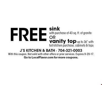 Free vanity top (up to 36