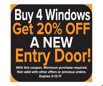 Buy 4 windows, get 20% off a new entry door