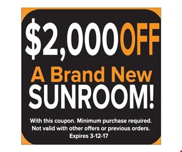 $2000 off a brand new sunroom