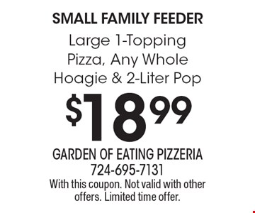 Small Family Feeder. $18.99 for a Large 1-Topping Pizza, Any Whole Hoagie & 2-Liter Pop. With this coupon. Not valid with other offers. Limited time offer.