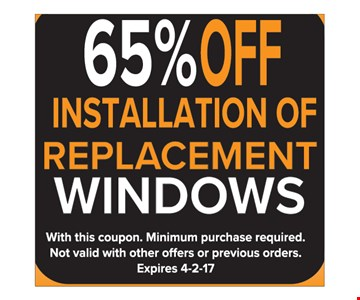 65% Off Installation of Replacement Windows