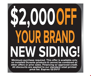 $2,000 Off Your Brand New Siding