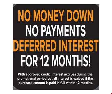 No Money Down No Payments Deferred Interest For 12 Months