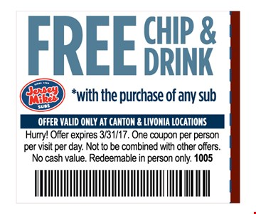 Free Chip & Drink with purchase of any sub One coupon per person per visit per day . Not to be combined with other offers .