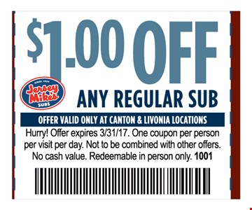 $1 Off Any Regular SubOne coupon per person per visit per day . Not to be combined with other offers .